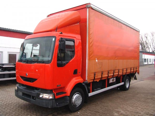 Renault - Midlum 180 dci stake body and tarpaulin truck Tautliner Liftgate