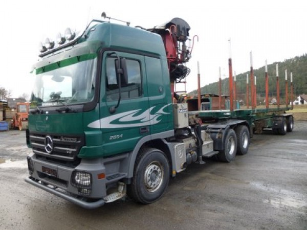 Mercedes-Benz - Actros 2654 6x4 timber crane trailer complete train for short and long logs