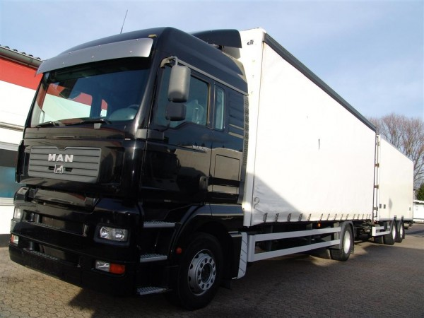 MAN - TGA 18.350 road train with trailer 11m³ retarder liftgate trough-loading system