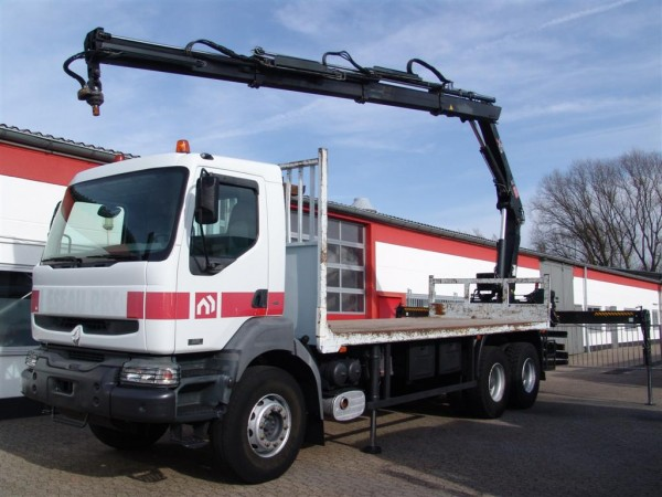 Renault - Kerax 320dci 6x4  flatbed Hiab crane 166BS-3 Hiduo  4-point support